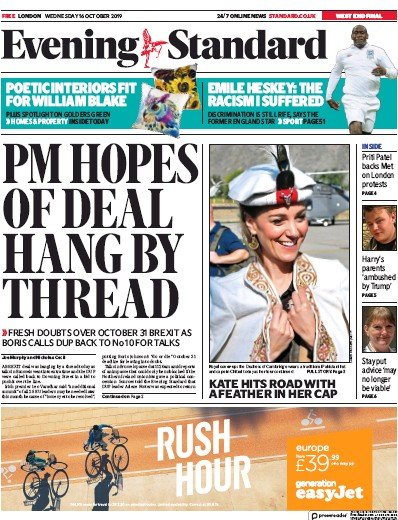 London Evening Standard Newspaper Front Page (UK) for 17 October 2019