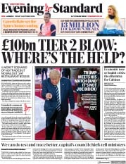 London Evening Standard front page for 17 October 2020