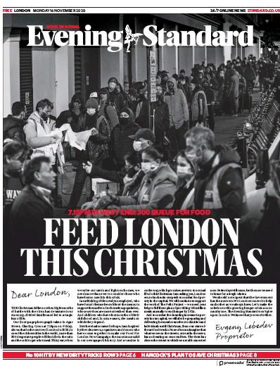 London Evening Standard Newspaper Front Page (UK) for 17 November 2020