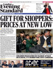 London Evening Standard (UK) Newspaper Front Page for 17 December 2014