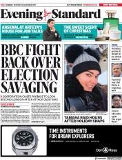 London Evening Standard (UK) Newspaper Front Page for 17 December 2019