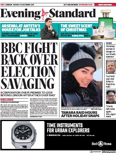 London Evening Standard Newspaper Front Page (UK) for 17 December 2019