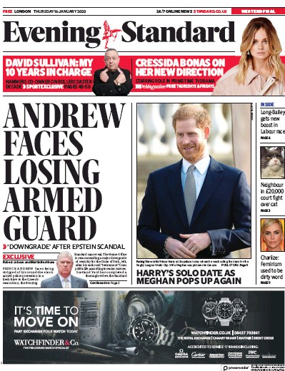 London Evening Standard Newspaper Front Page (UK) for 17 January 2020