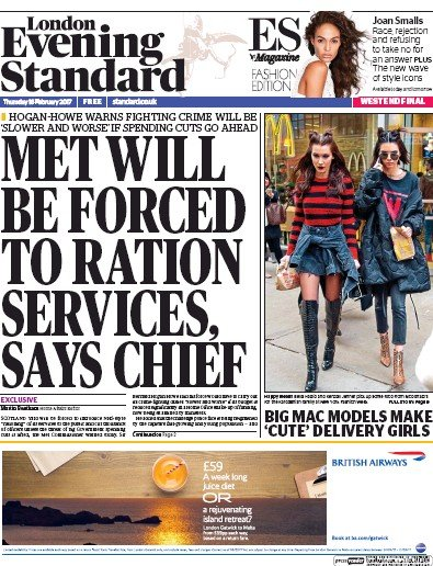 London Evening Standard Newspaper Front Page (UK) for 17 February 2017