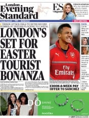 London Evening Standard (UK) Newspaper Front Page for 17 April 2017