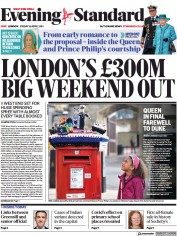 London Evening Standard front page for 17 April 2021