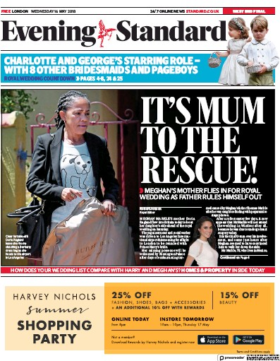 London Evening Standard Newspaper Front Page (UK) for 17 May 2018