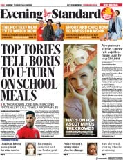 London Evening Standard (UK) Newspaper Front Page for 17 June 2020