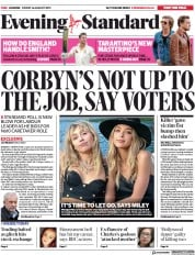 London Evening Standard (UK) Newspaper Front Page for 17 August 2019