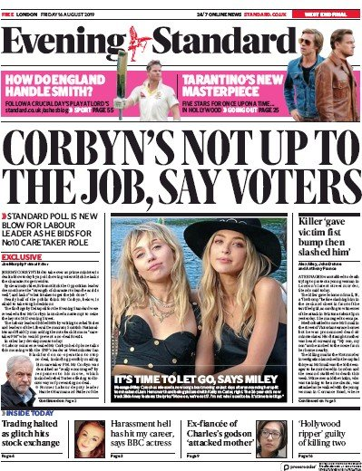 London Evening Standard Newspaper Front Page (UK) for 17 August 2019