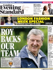 London Evening Standard (UK) Newspaper Front Page for 17 September 2014