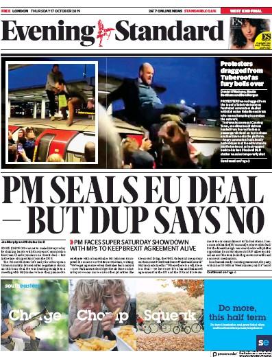 London Evening Standard Newspaper Front Page (UK) for 18 October 2019