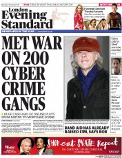 London Evening Standard Newspaper Front Page (UK) for 18 November 2014