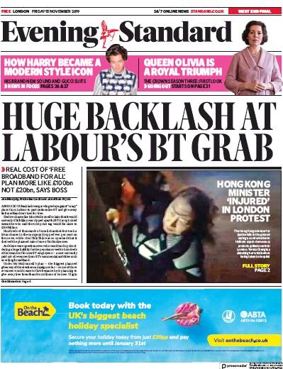 London Evening Standard Newspaper Front Page (UK) for 18 November 2019