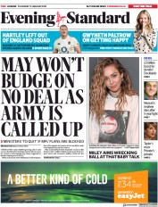 London Evening Standard (UK) Newspaper Front Page for 18 January 2019