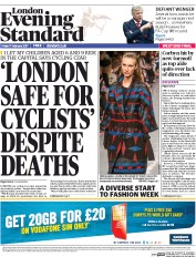 London Evening Standard (UK) Newspaper Front Page for 18 February 2017