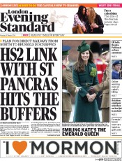 London Evening Standard (UK) Newspaper Front Page for 18 March 2014