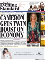 London Evening Standard (UK) Newspaper Front Page for 18 April 2015