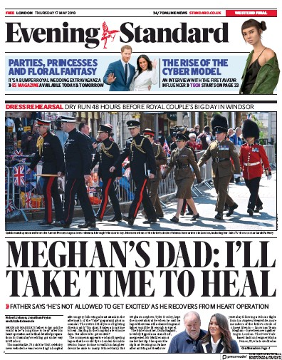 London Evening Standard Newspaper Front Page (UK) for 18 May 2018