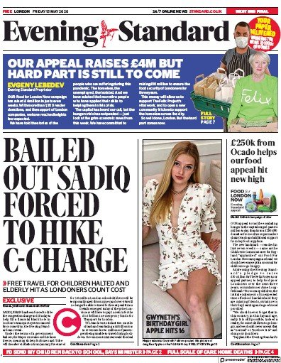 London Evening Standard Newspaper Front Page (UK) for 18 May 2020