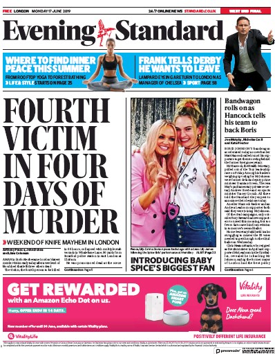 London Evening Standard Newspaper Front Page (UK) for 18 June 2019