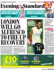London Evening Standard (UK) Newspaper Front Page for 18 June 2020
