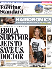 London Evening Standard (UK) Newspaper Front Page for 18 September 2014