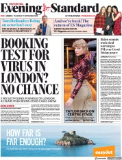 London Evening Standard front page for 18 September 2020