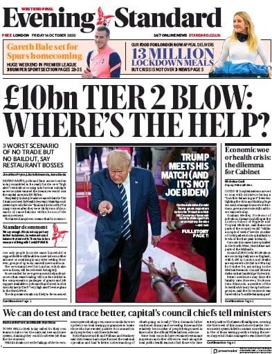 London Evening Standard Newspaper Front Page (UK) for 19 October 2020
