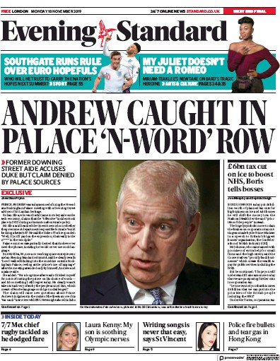 London Evening Standard Newspaper Front Page (UK) for 19 November 2019