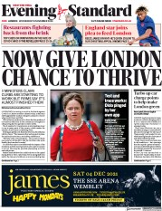 London Evening Standard front page for 19 November 2020