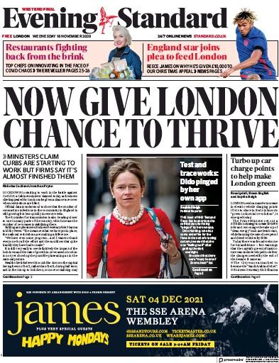 London Evening Standard Newspaper Front Page (UK) for 19 November 2020