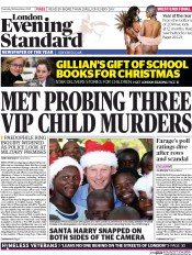 London Evening Standard (UK) Newspaper Front Page for 19 December 2014