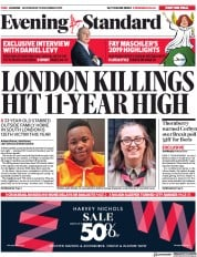 London Evening Standard (UK) Newspaper Front Page for 19 December 2019