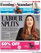 London Evening Standard () Newspaper Front Page for 19 February 2019