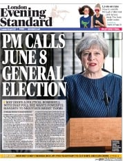 London Evening Standard (UK) Newspaper Front Page for 19 April 2017