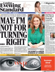 London Evening Standard (UK) Newspaper Front Page for 19 May 2017
