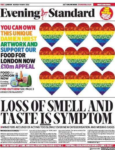 London Evening Standard Newspaper Front Page (UK) for 19 May 2020
