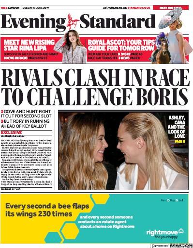 London Evening Standard Newspaper Front Page (UK) for 19 June 2019