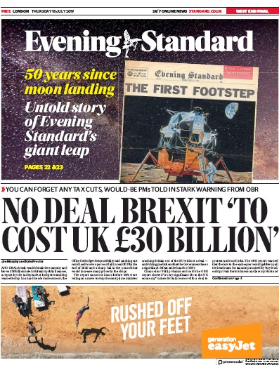 London Evening Standard Newspaper Front Page (UK) for 19 July 2019