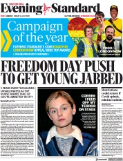 London Evening Standard () Newspaper Front Page for 19 July 2021