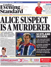 London Evening Standard (UK) Newspaper Front Page for 19 September 2014
