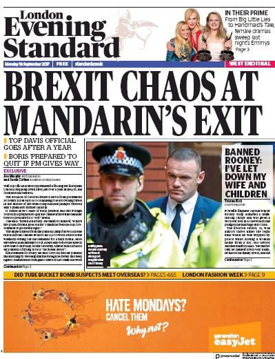 London Evening Standard Newspaper Front Page (UK) for 19 September 2017