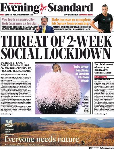 London Evening Standard Newspaper Front Page (UK) for 19 September 2020