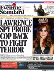 London Evening Standard (UK) Newspaper Front Page for 1 November 2014