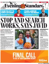 London Evening Standard () Newspaper Front Page for 1 November 2018
