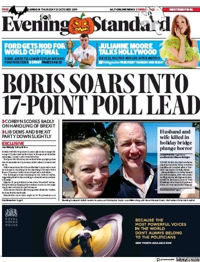 London Evening Standard Newspaper Front Page (UK) for 1 November 2019