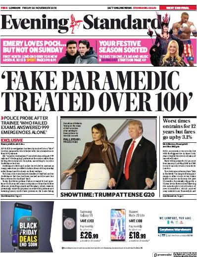 London Evening Standard Newspaper Front Page (UK) for 1 December 2018
