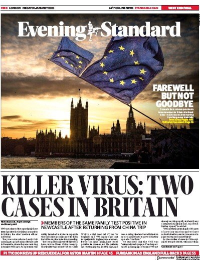 London Evening Standard Newspaper Front Page (UK) for 1 February 2020