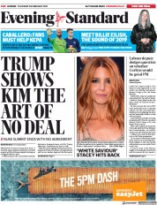 London Evening Standard () Newspaper Front Page for 1 March 2019